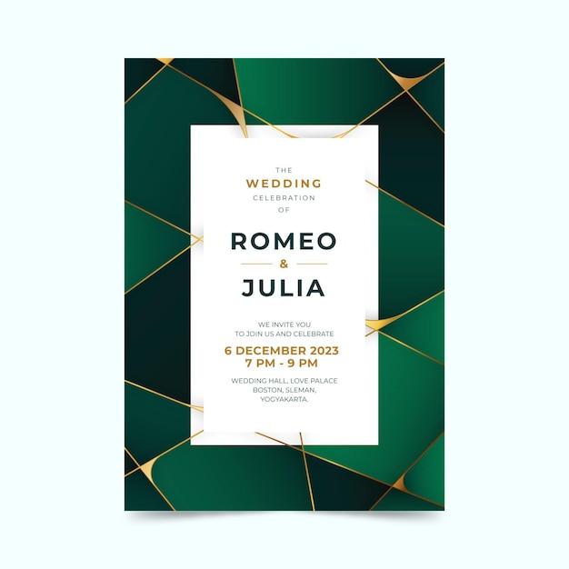 Invitación de boda verde geométrica degradada con espacio de texto cuadrado vector gratuito