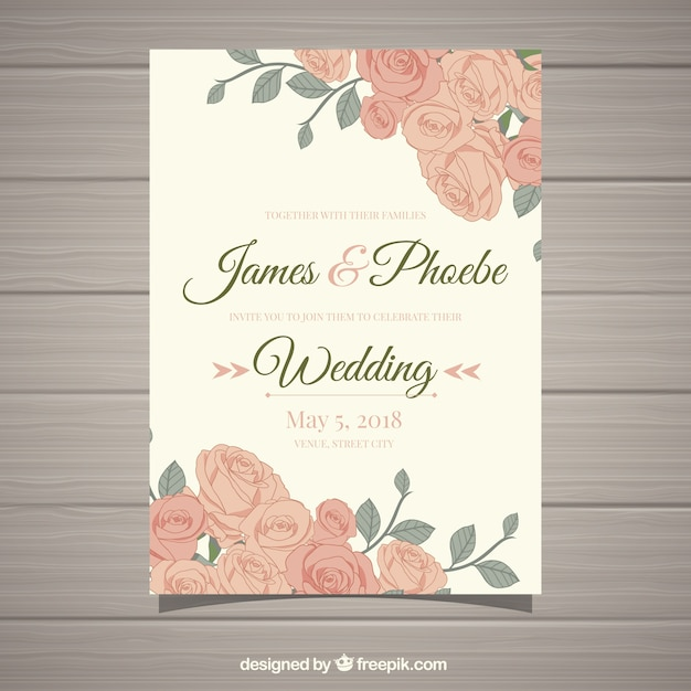 Invitación De Boda Vintage Con Flores Bonitas Vector Gratis