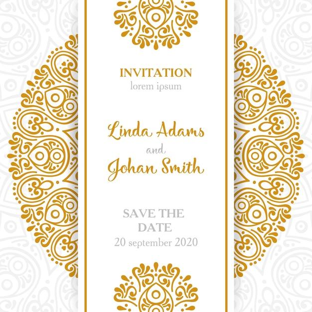 Invitación de boda vintage con mandala vector gratuito