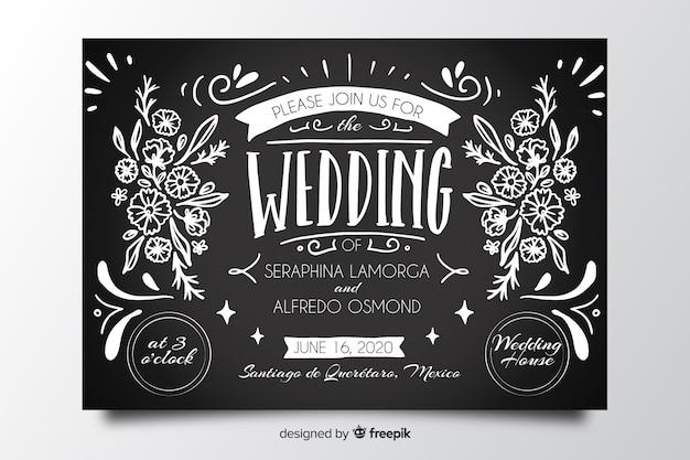 Invitación de boda vintage en plantilla de pizarra vector gratuito