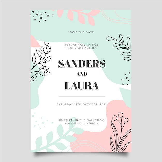 Invitación de boda vector gratuito