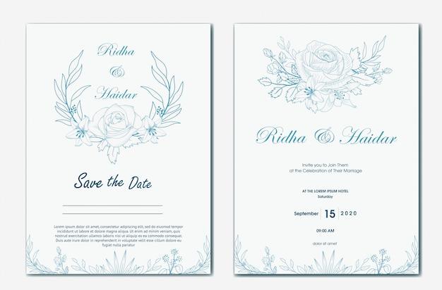 Invitación botánica de boda dibujada a mano Vector Premium