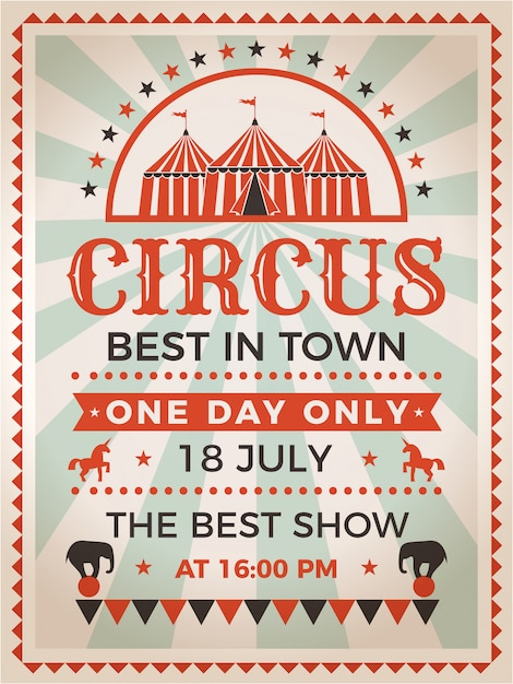 Invitación de cartel retro para espectáculo de circo o carnaval Vector Premium