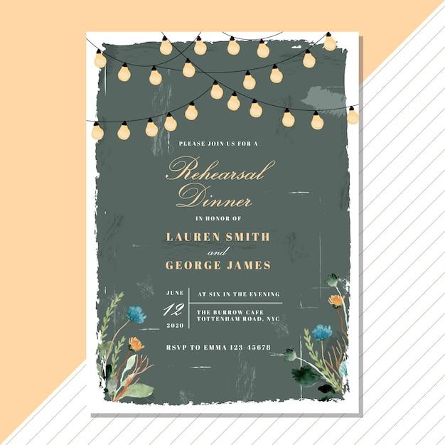 Invitación a la cena de ensayo con flores vintage y luz de cuerda Vector Premium