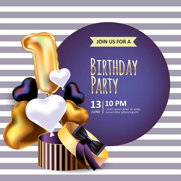 Invitación de cumpleaños con caja de embalaje realista Vector Premium