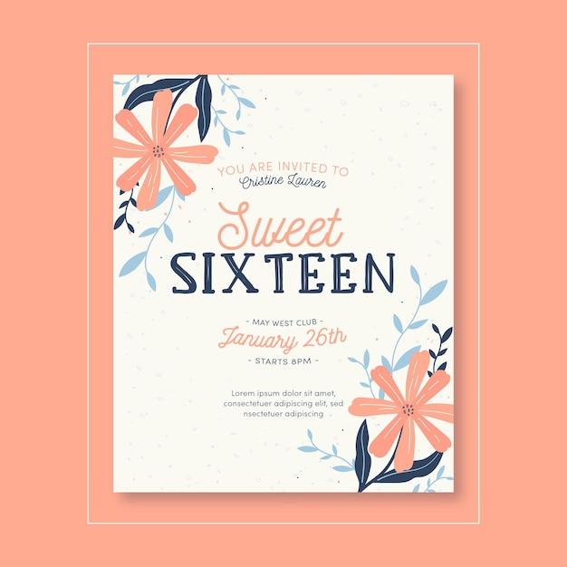 Invitación de cumpleaños dulce dieciséis vector gratuito