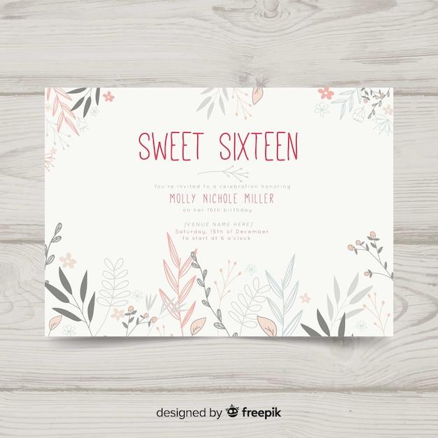 Invitación cumpleaños dulces dieciséis vector gratuito