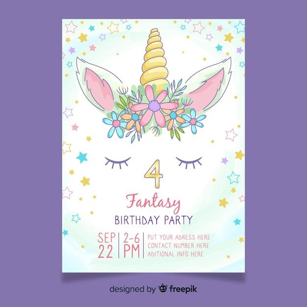 Invitación de cumpleaños femenino con unicornio Vector Premium