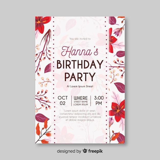 Invitación de cumpleaños floral de plantilla vector gratuito