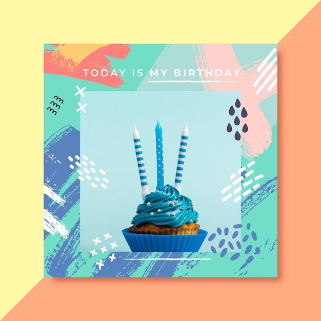 Invitación de cumpleaños con foto de pastel vector gratuito