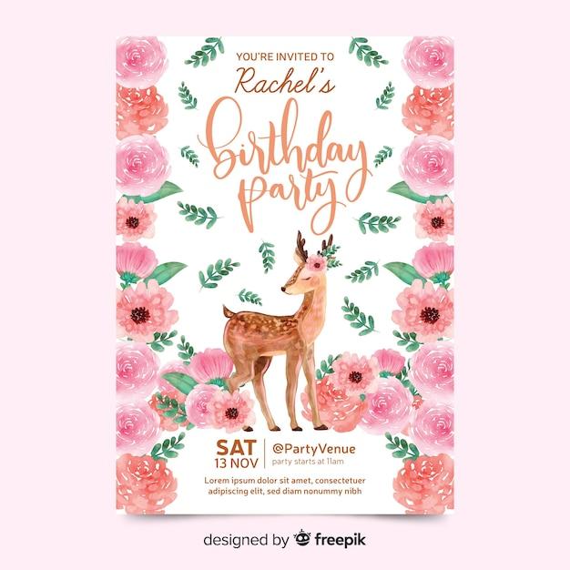 Invitación de cumpleaños hermosa con ciervos vector gratuito