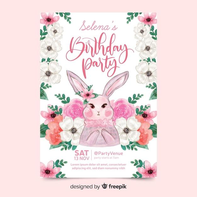 Invitación de cumpleaños linda con conejo vector gratuito