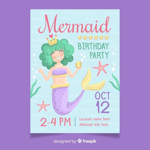 Invitación de cumpleaños lindo con sirena dibujada a mano Vector Premium