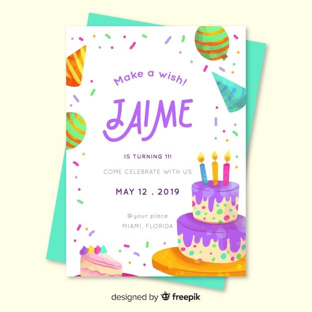 Invitación de cumpleaños para niños para plantilla de niño vector gratuito