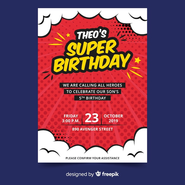 Invitación de cumpleaños de plantilla para niños vector gratuito