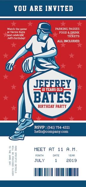 Invitación De Cumpleaños Del Tema De Béisbol Vector Premium