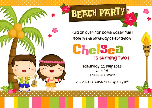 Invitación del cumpleaños del tema de hawaii Vector Premium