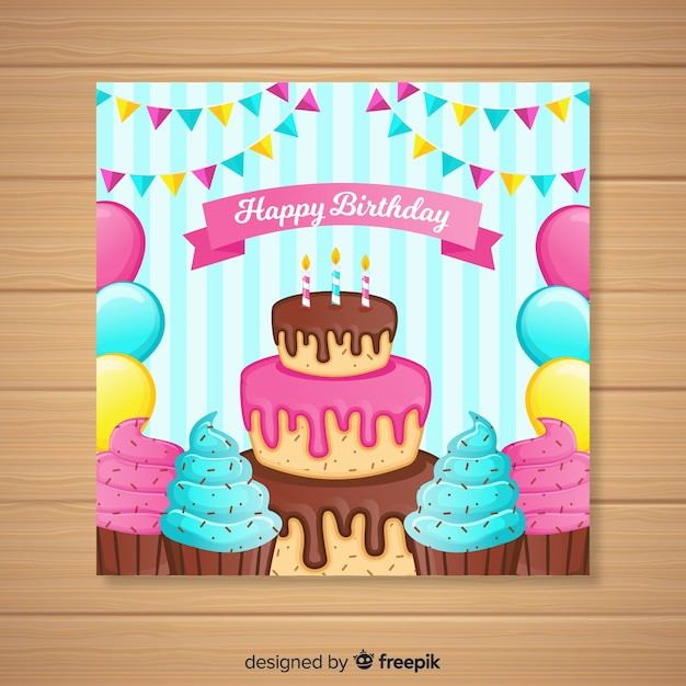 Invitación de cumpleaños vector gratuito
