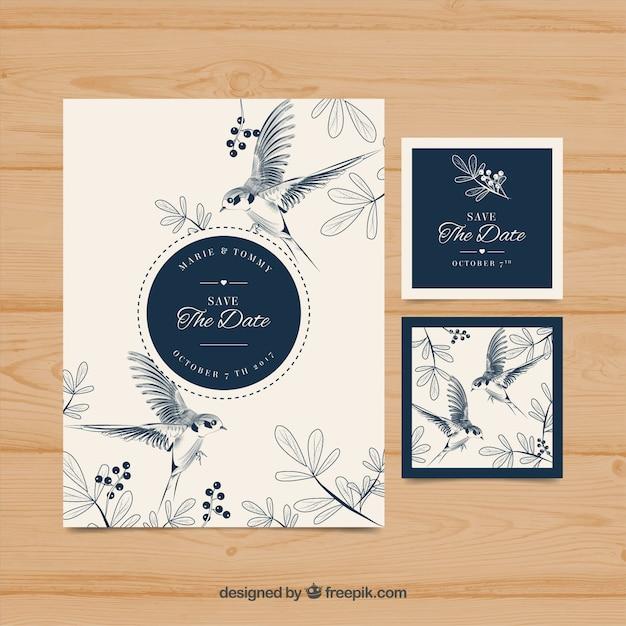 invitacin de boda a mano con pjaros y flores vector gratis