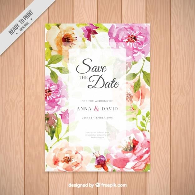 invitacin de boda con bonitas flores de acuarela vector gratis