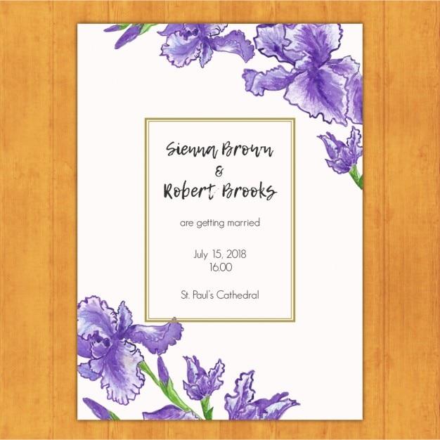 invitacin de boda con flores violetas vector gratis