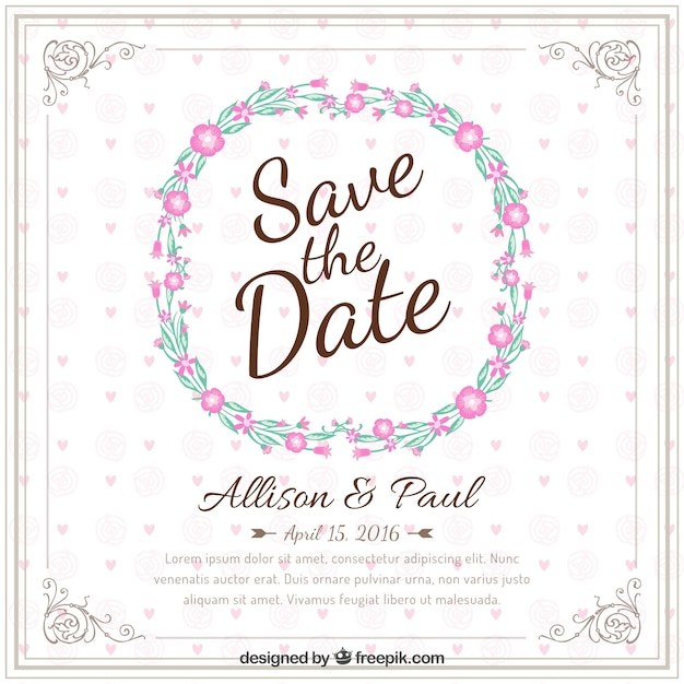 Invitation Party Wedding Free Vector Graphic On Pixabay: Invitación De Boda Con La Corona De Flores