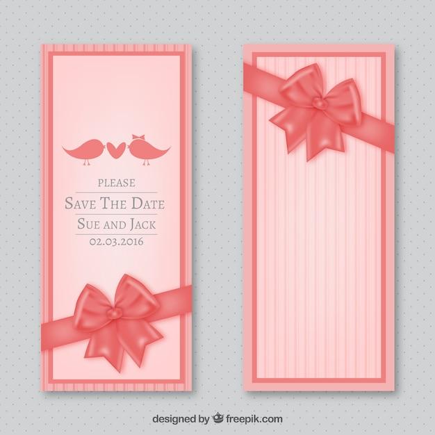 invitacin de boda con lazo rosa vector gratis