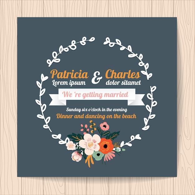 invitacin de boda con lazo y corona de flores vector gratis
