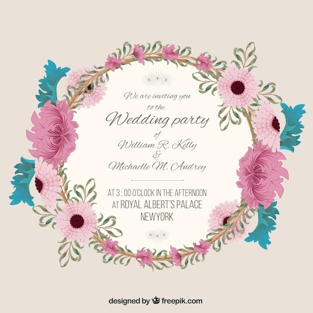 Invitación de boda con marco floral | Descargar Vectores gratis