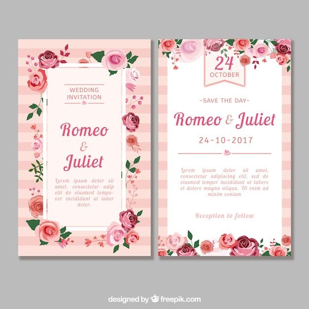 Invitación de boda con rosas de diseño plano Vector Gratis