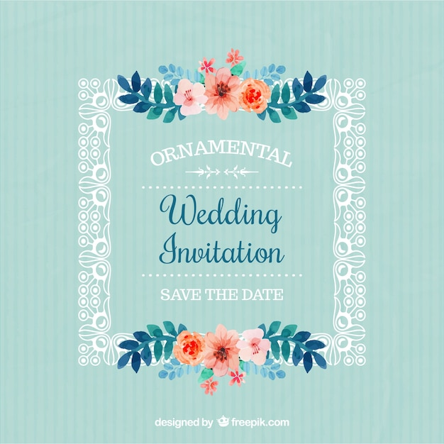 invitacin de boda de marco con flores vector gratis