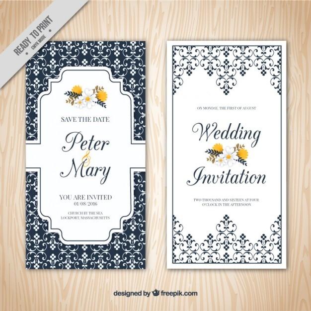 Invitación de boda elegante ornamental  Descargar Vectores gratis