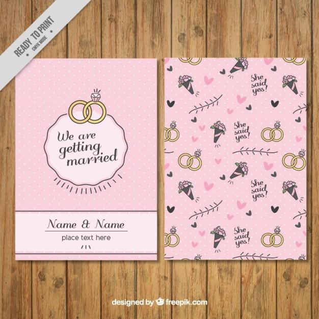 invitacin de boda en estilo vintage con dibujos vector gratis