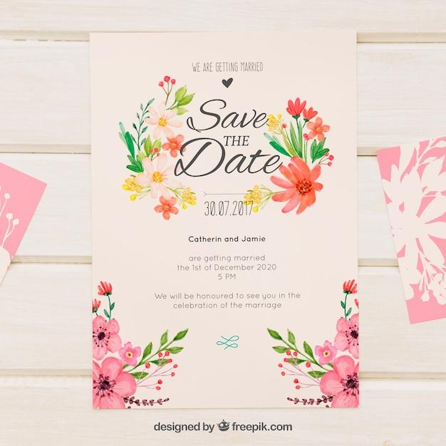invitacin de boda retro con flores de acuarela vector gratis