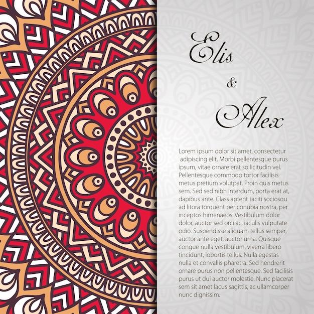 invitacin de boda retro de mandala con espacio para texto vector gratis