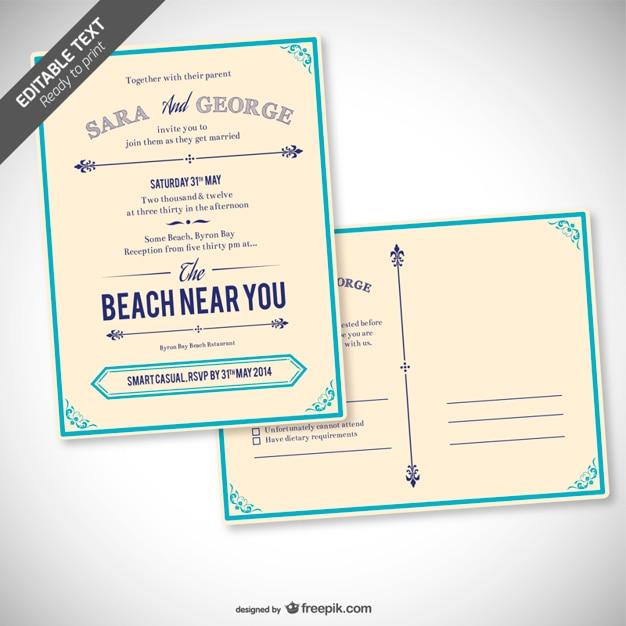 invitacin de boda retro editable vector gratis