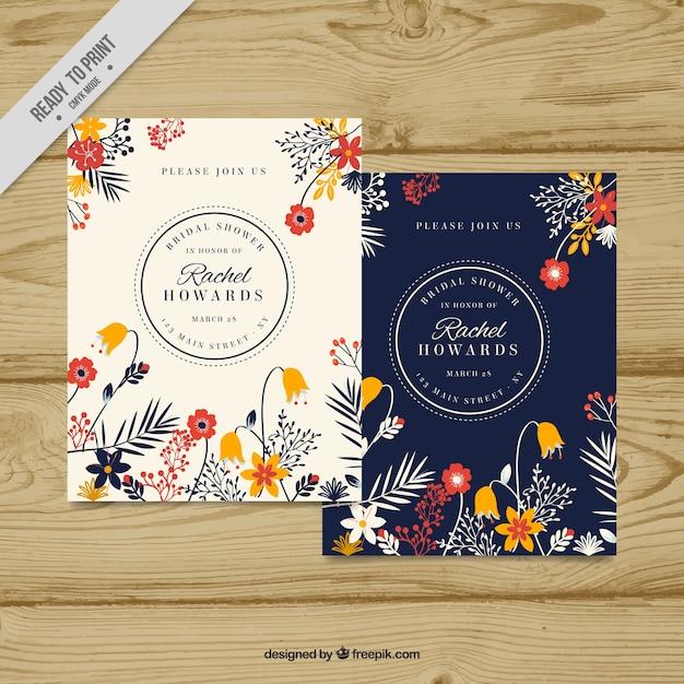 Invitación de despedida de soltera con decoración floral bonita Vector Gratis