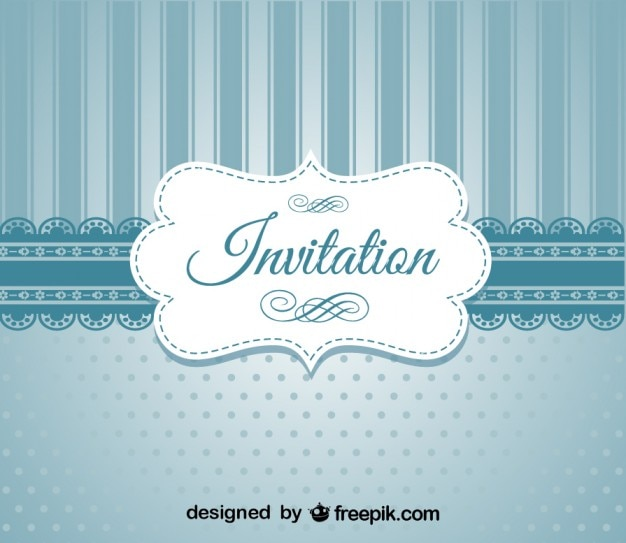 Invitacion De Diseno Elegante Azul Retro Descargar Vectores Gratis