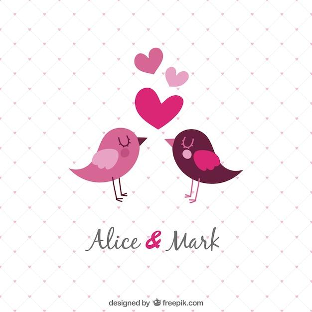 Invitación de la boda plantilla con las aves Vector Gratis