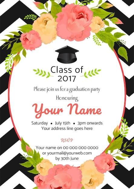 invitaci u00f3n de plantilla de fiesta de graduaci u00f3n