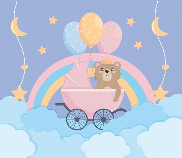 Invitación y decoración de cartel de baby shower. vector gratuito