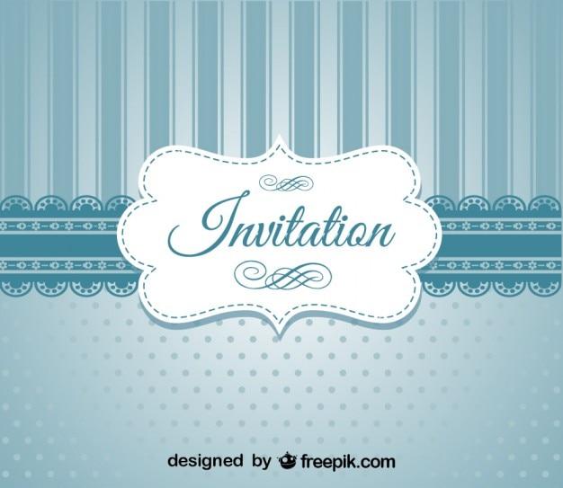 Invitación De Diseño Elegante Azul Retro Vector Gratis