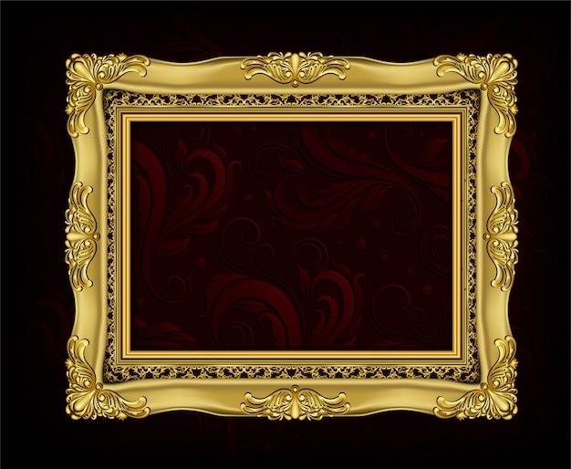 Invitación del diseño del vector golden photo frame Vector Premium