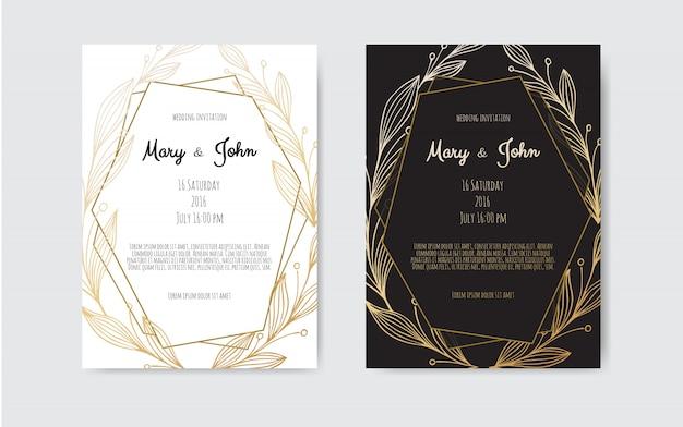 Invitación dorada con elementos florales. Vector Premium