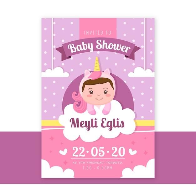 Invitación de ducha de niña vector gratuito