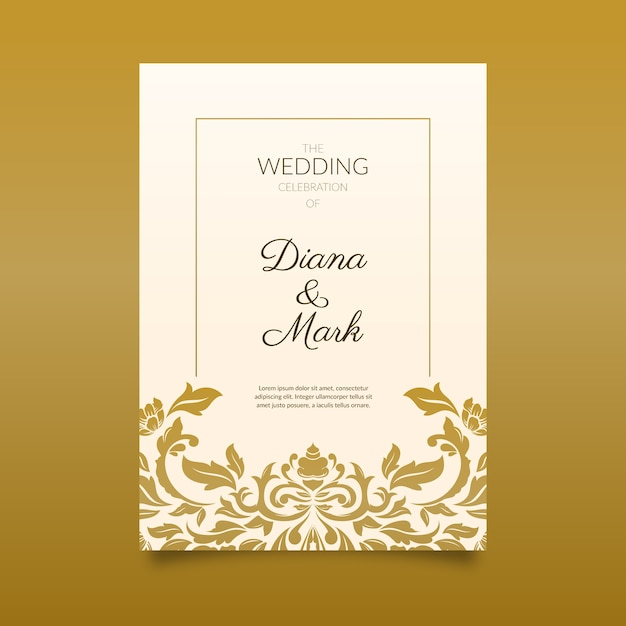 Invitación elegante de la boda del damasco Vector Premium