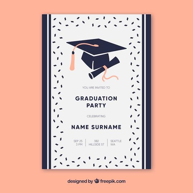 Invitación elegante de fiesta de graduación con diseño plano vector gratuito