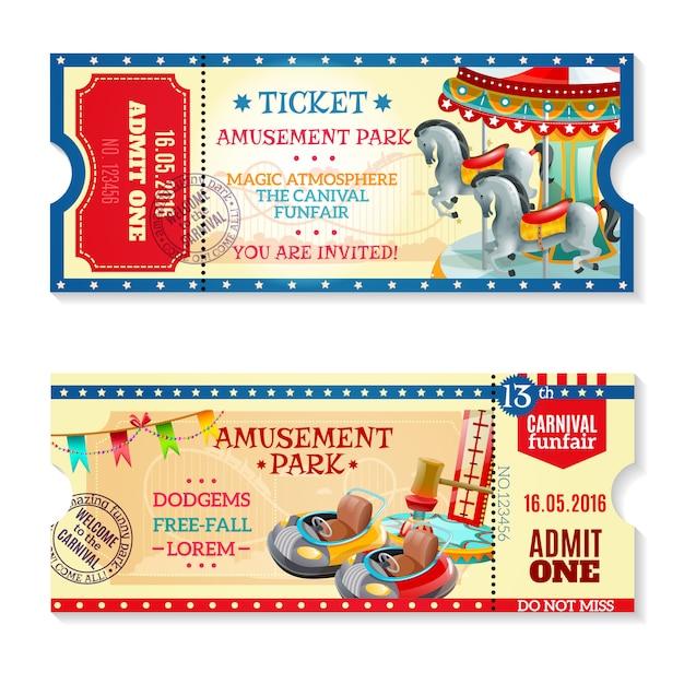 Invitación de entradas para el carnaval en el parque de atracciones vector gratuito