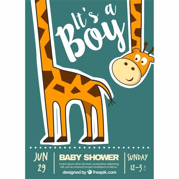 Invitación fantástica de bienvenida al bebé con una jirafa feliz Vector Premium