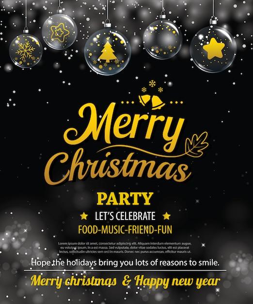 Invitación feliz fiesta de navidad poster. Vector Premium